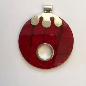Red & Silver Disk Pendant